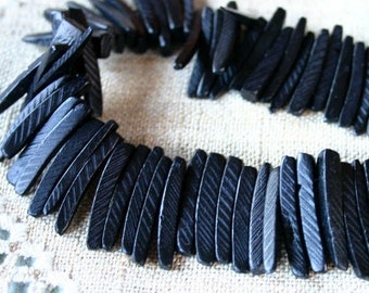 Black Sticks Wood Beads Top-Drilled Stick 25x4mm 16 Inches Coconut Palm