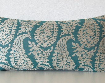 Napoli Turquoise paisley teal lumbar decorative pillow cover