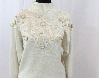SALE ITEM Vintage Funky Cream knit Sweater