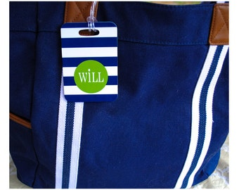 Personalized luggage tag navy cabana stripes green monogram or choice of colors