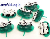 4 Twin Baby Panda with Leaf Soft Plastic Charms.