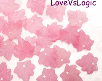 60 Leaf Acrylic Bead Charms. 15x17mm. Matte Pink.