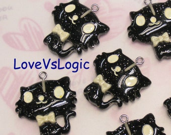 4 Glitter Baby Cat with Bow Lucite Charms. Glitter Black Tone