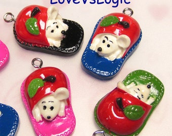 4 Slipper with Mouse Plastic Charms.Mix Colors.Cute