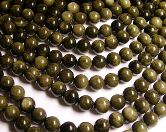Golden Black Obsidian - 12 mm round beads -1 full strand - A quality - 33 beads
