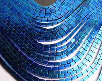 Hematite mystic blue - 5mm rectangle beads -  full strand - 75 beads - AA quality  - 5x3 - PHG58
