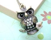 Owl Necklace, Woodland Animals Jewelry,Rhinestone Owl  Necklace, Owl Pendant Jewelry, Cute Owl Necklace