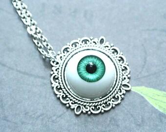 Green Eyeball Necklace, Eyeball Jewelry, Halloween Eye ball Necklace,Spooky Jewelry