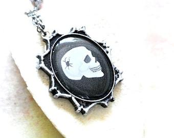 Halloween Jewelry, Skull Necklace, Chunky Necklace,Skeleton Jewelry