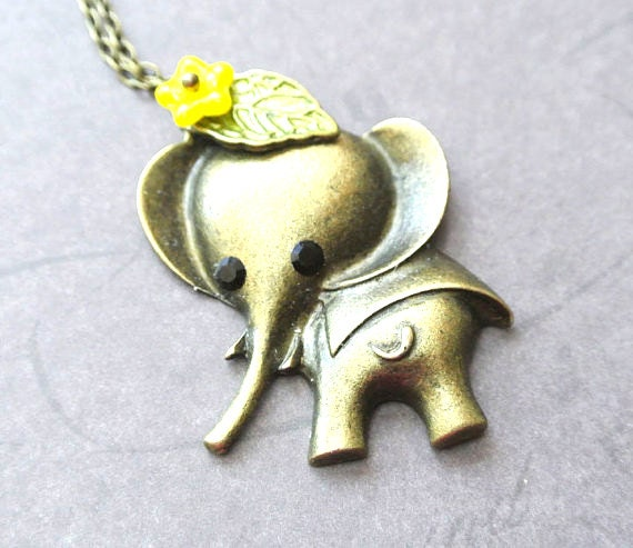 Elephant Necklace,Elephant with Flower Necklace, Animal Necklace