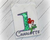 Little MERMAID Flounder or Ariel Girls Birthday Shirt Princess Inspired Personalized Top Green, Purple or Aqua Pick Size, Name, Number