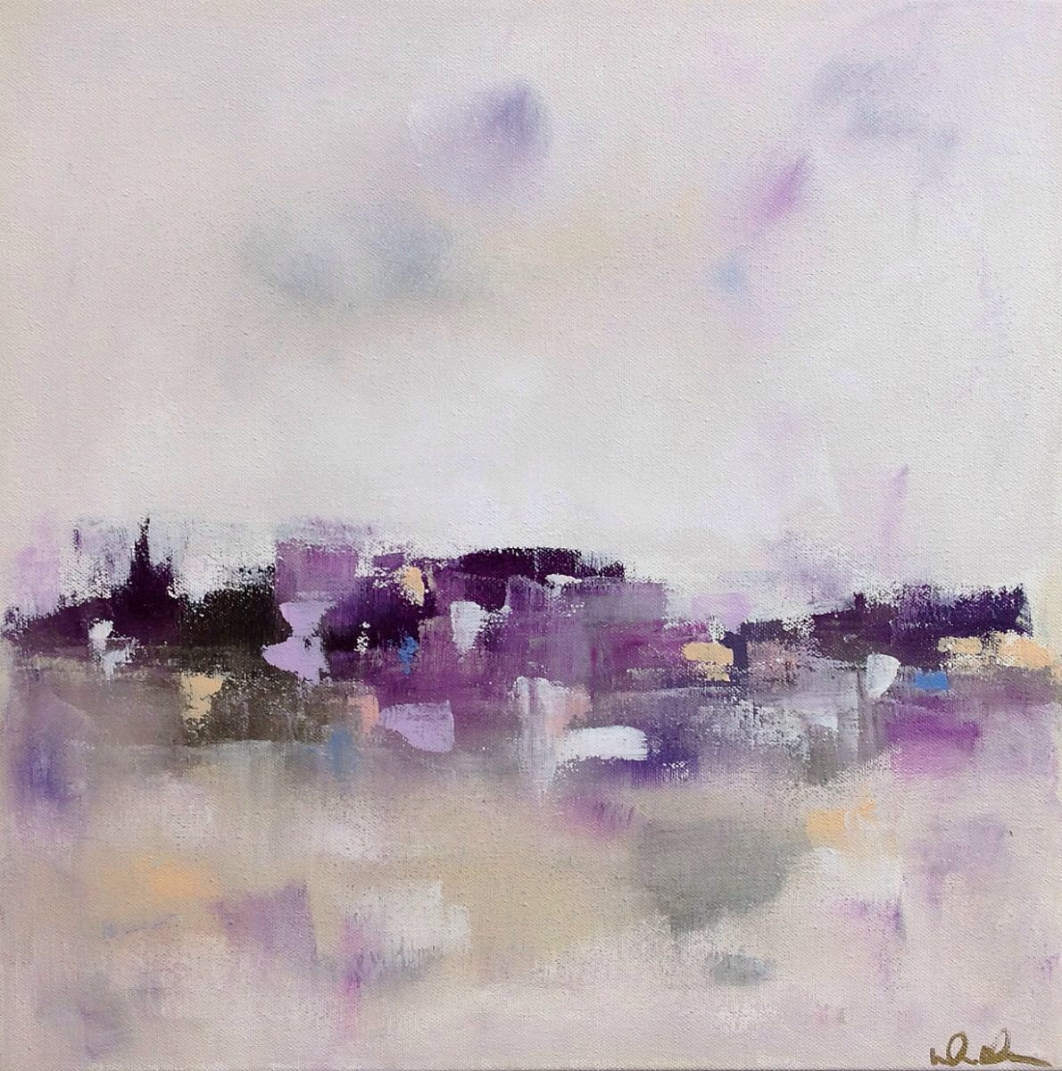 Purple Grey Abstract City Painting Original Art City Purples