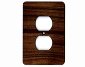 Black Walnut Hardwood Outlet Cover Wall Plate - Single, Solid Wood