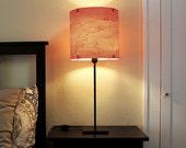 """TABLE LAMP Real Wood Veneer 12"""" -  Complete w Black Steel Base - Modern  Industrial Lighting Lampshade"""