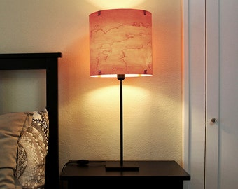 "TABLE LAMP Real Wood Veneer 12"" -  Complete w Black Steel Base - Modern  Industrial Lighting Lampshade"