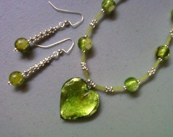Peridot Green Heart Necklace and Earrings (1187)