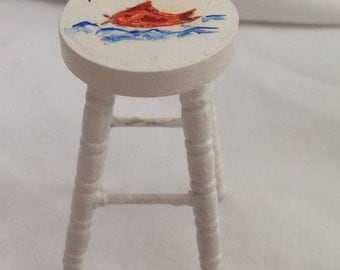 DOLLS HOUSE MINIATURES - 1/12th Hand Painted Stool