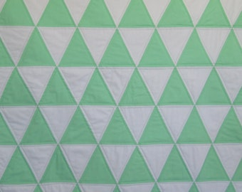Modern Baby Quilt, Triangle Baby Quilt, Modern Crib Quilt in Mint Green and White Handmade by Dreamy Vintage Sheets