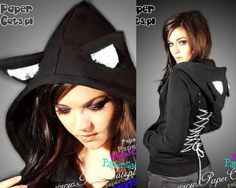 Hoodie black cat ears corset kawaii