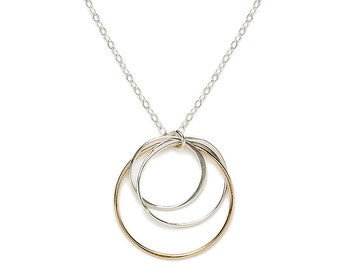 Gold and Silver Clustered Circle Necklace, Linked Circle Necklace, Silver and Gold Necklace, Mother Child Necklace, Link Circle Necklace