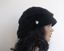 Black Slouchy Newsboy Cap -Button- Handmade-Knitted newsboy brimmed slouch hat