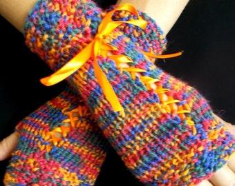 Knit  Fingerless Gloves Corset Wrist Warmers Red Blue Yellow Green