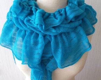 Cotton Wrap Knitted Shawl  Natural Summer Capelet in Turquoise/ Blue