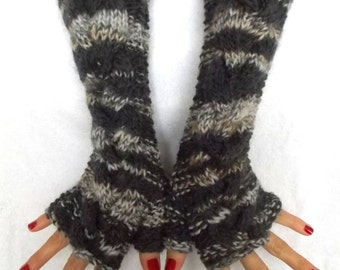 Fingerless Gloves Grey White Brown Arm Warmers Cabled Handmade Warm and Chunky