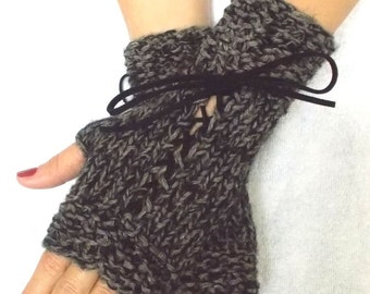 Handknit Fingerless Gloves Corset Wrist Warmers in Brown and Black Tweed with Suede Ribbons Victorian Style