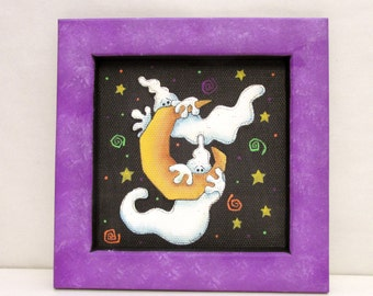 Pair of Halloween Ghosts hiding behind a Yellow Moon, Tole Painted, Hand Crafted Reclaimed Wood Frame, Halloween Art Decoration,White Ghosts