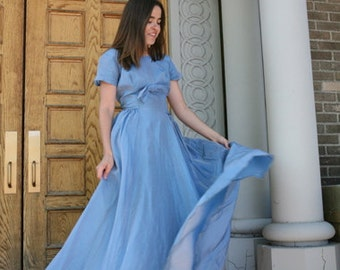 Vintage 50s Gown: Stunning Sky Blue Sharkskin Iridescent Dress with Bow Details