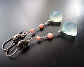 Chalcedony, Coral, Dangle Earrings, Sterling Silver