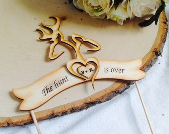 Buck and Doe Cake Topper. Banner Cake topper. Rustic Cake Topper Fully Customizable