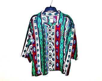 Vintage Eye Dazzler Navajo Print Over-Size Button-Down Crop Top by Tapestry