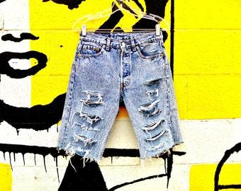 Vintage 90's Levi's 501's Acid Washed Denim Destroyed Cut Off Jean Shorts Waist Size 28