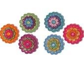 Buttons Jesse James Floral Revolution Flowers Flower Novelty Sewing Craft Shank Button Set