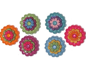 Buttons Jesse James Floral Revolution Flowers Flower Novelty Sewing Craft Shank Button Set