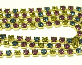 Vintage Swarovski Rhinestone Chain - Multi Color - Green, Blue , Purple 3mm (1) Foot