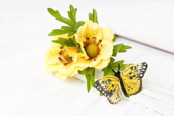 yellow flower butterfly hair clip // floral headpiece, yellow rose, monarch butterfly, garden, nature, spring, festival, whimsical