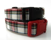 Plaid Dog Collar - Lumberjack Plaid in Red Hunter Green Winter White