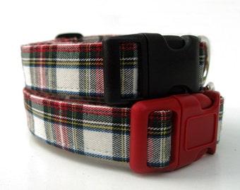 Plaid Dog Collar - Lumberjack Plaid in Red Hunter Green Winter White