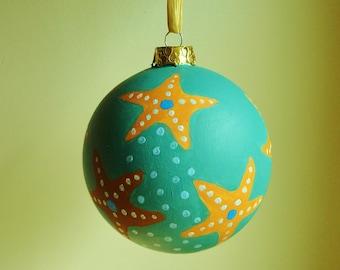 Handmade Holiday Ornament Starfish Hand Painted Ceramic