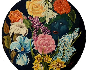 Flower Garden on Blue, Acrylic Round Painting, 20 inch Round Surreal Painting on Canvas