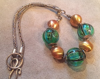 Venetian Glass Necklace - Green with Broinze and Silver