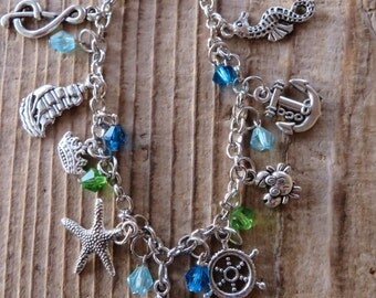 The Little Mermaid Themed Silver Charm and Crystal Bracelet