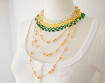 Crochet Lace Jewelry (Byzance I) Crochet Necklace, Fiber Art Necklace, Statement Necklace