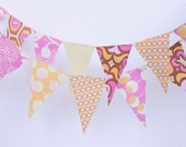 Fabric Pennant Banner - Mini Bunting - Pink, Yellow, Orange and Gold - Nursery Decor, Photo Prop, Event Decor