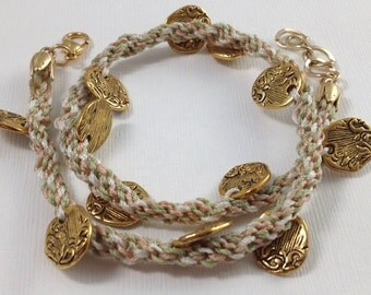 Cream, Peach & Green Braided and Gold Double Wrap Bracelet