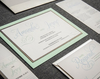 "Mint Green Invitations, Beach Wedding Invitations, Cream and Grey Invites - ""Modern Swirl & Flourish"" Flat Panel, 2 Layers, v1 - SAMPLE"
