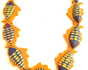FISH Whimsical Necklace Orange Blue Bold Runway Large Handcrafted Wooden Beads Colorful Authentic Novelty Jewelry 70s Vintage talkingfashion